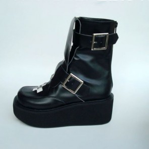 "Black 2.8"" Heel High Elegant Patent Leather Round Toe Stud Buckles Platform Girls Lolita Boots"