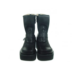 "Black 2.8"" Heel High Classical PU Point Toe Stud Buckles Platform Women Lolita Boots"