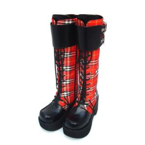 """Red 3.5"""" Heel High Sexy Suede Round Toe Cross Straps Platform Girls Lolita Boots"""