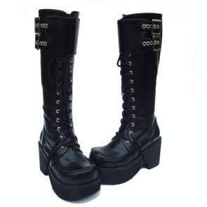 "Black 3.5"" Heel High Romatic PU Round Toe Cross Straps Platform Lady Lolita Boots"