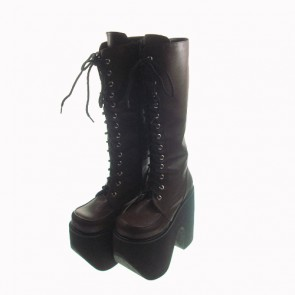 "Brown 6.0"" Heel High Cute Polyurethane Round Toe Cross Straps Platform Girls Lolita Boots"