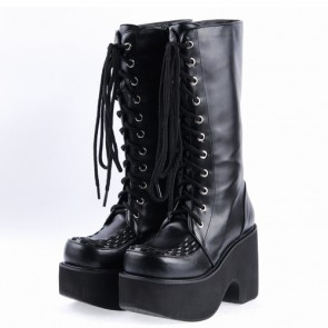 "Black 3.1"" High Heel Stylish Synthetic Leather Japanese Punk Lady Lolita Boots"