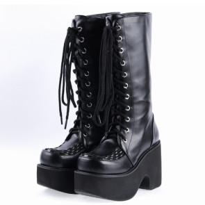 "Black 3.1"" High Heel Stylish Synthetic Leather Japanese Punk Lady Lolita Boots"