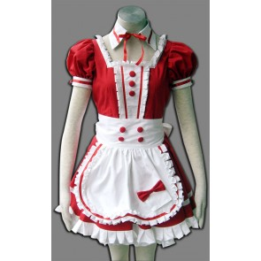 Red Short Sleeves Cute Maid Cosplay Costume