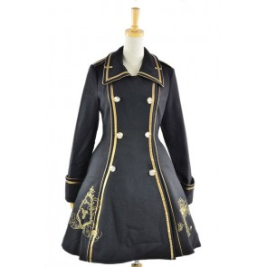 Black Turndown Collar Long Sleeves Wool Flannel Lolita Coat