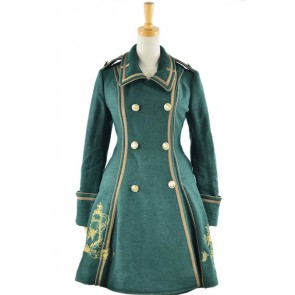 Deep Green Turndown Collar Long Sleeves Wool Flannel Lolita Coat