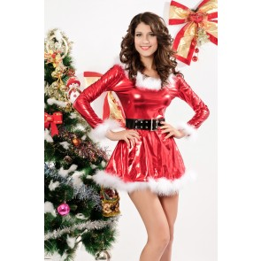 Beautiful Long Sleeves Acrylic Lady Christmas Dress