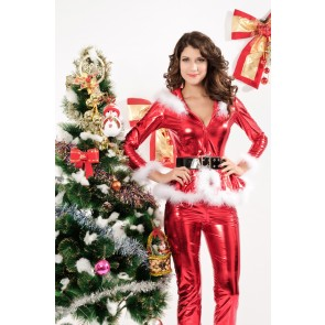 Beautiful Long Sleeves Acrylic Spandex Women Christmas Outfit