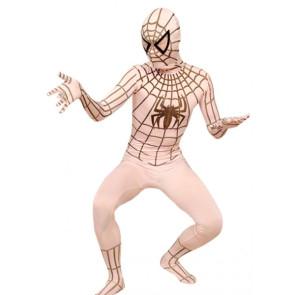 Beige Lycra Spandex Spiderman Zentai Suit
