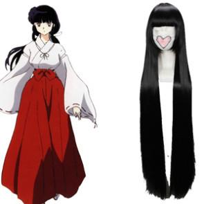 Black 110cm InuYasha Kikyo Cosplay Wig