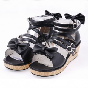 "Black 2.0"" Heel High Lovely PU Point Toe Ankle Straps Platform Lady Lolita Sandals"