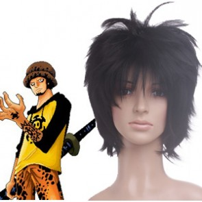 Black 32cm One Piece Trafalgar Law Nylon Cosplay Wig