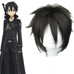 Black 32cm Sword Art Online Kirito Cosplay Wig
