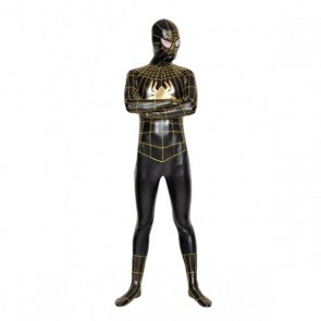 Black And Gold Lycra Spandex Spiderman Zentai Suit