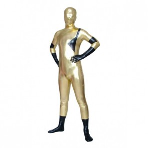 Black And Golden Full Body Shiny Metallic Unisex Zentai Suit