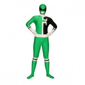 Black And Green Full Body Lycra Spandex Unisex Zentai Suit