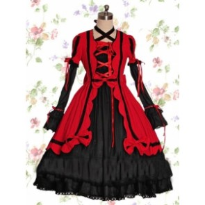 Black & Red Cotton Gothic Lolita Dress