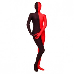 Black And Red Lycra Spandex Unisex Zentai Suit