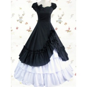 Classic Black & White Cotton Short Sleeves Ruffle Lolita Dress