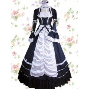 Black And White Cotton Gothic Lolita Dress With Lace Bow