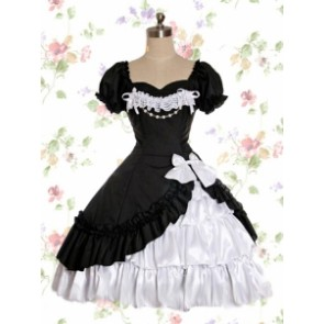 Short Sleeves Black And White Satin Yarn Classic Lolita Dress