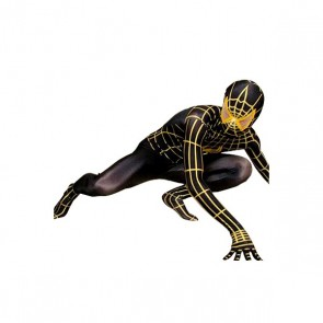 Black And Yellow Lycra Spandex Spiderman Zentai Suit