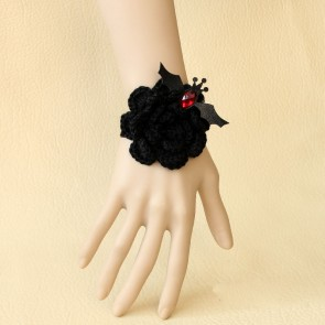 Black Angel Floral Girls Lolita Wrist Strap