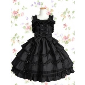 Black Sleeveless Cotton Elizabethan Style Gothic Lolita Dress With Bandage Bows