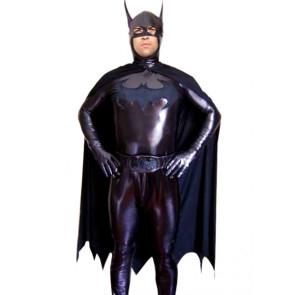 Black Batman Shiny Metallic Superhero Zentai Suit
