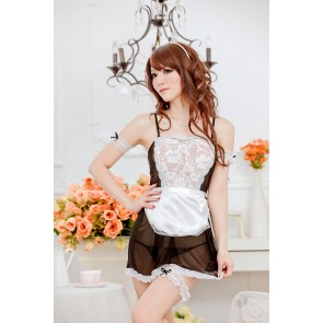 Black Charming Lace French Maid Costume