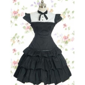 Black Cotton Elizabethans Style Gothic Lolita Dress