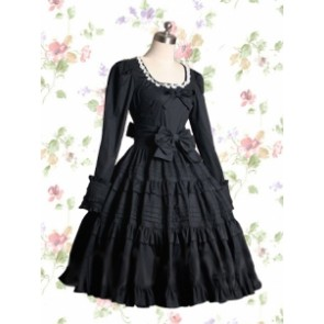 Black Long Sleeves Cotton Gothic Lolita Dress