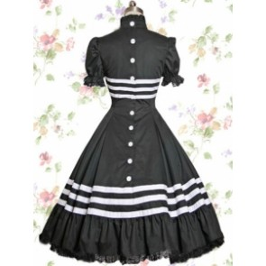 Black Cotton Glassic Lolita Dress With White Strip Patterns
