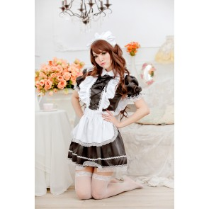 Black Cute Short Sleeves Bow Strap French Maid Uniform