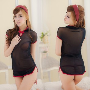 Black Elegant Short Sleeves Cheongsam Costume