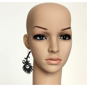 Black Feather Lady Handmade Lolita Earrings