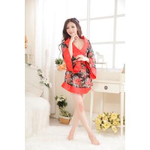 Black Hot Floral Pattern Kimono