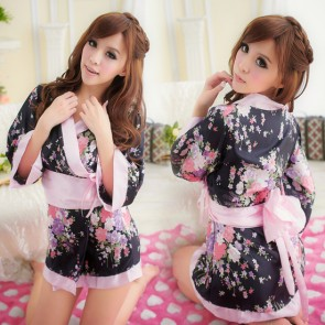 Black Hot Floral Print Japanese Geisha Costume