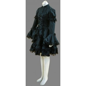 Black Long Sleeves Cotton Bow Gothic Lolita Dress
