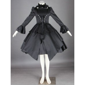Gorgeous Black Long Sleeves Cotton Gothic Lolita Dress