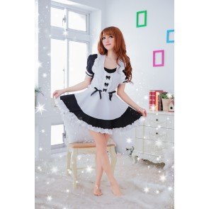 Black Lovely Short Sleeves Bow French Maid Uniform