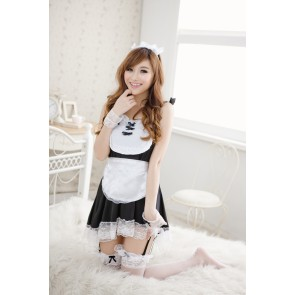 Black Lovely Sleeveless Lace French Maid Uniform