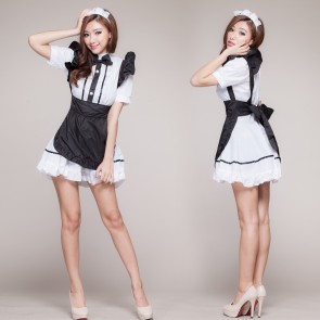 Black Lovely Turndown Collar French Maid Costume