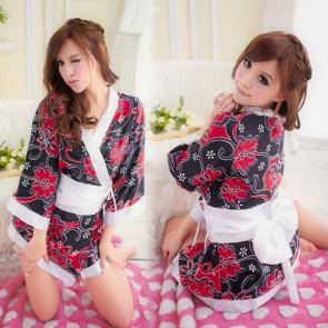 Black Luxury Floral Print Japanese Kimono