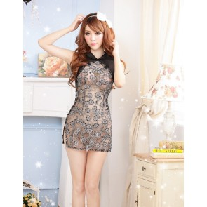 Black Modern Lace Floral Print Cheongsam Chinese Dress