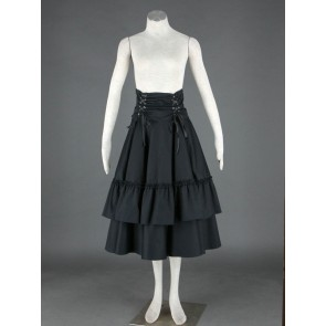 Black Polka Ruffled Lace Cotton Lolita Skirt