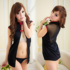 Black Sexy Short Sleeves Cheongsam Costume