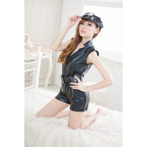 Black Sexy Turndown Collar Leather Police Uniform Costume