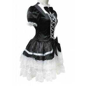Black Short Sleeves Cotton Cosplay Maid Costume