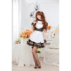 Black Sweet Short Sleeves Bow Strapless Maid Uniform